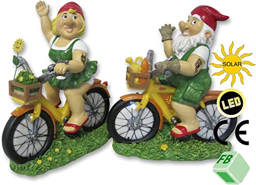 Juego de 2 Enanos de jardín en bicicleta con LED solar luz. Paul & Paula , fabricados en piedra resina, Enanos de jardín jardín decoración: Amazon.es: Jardín