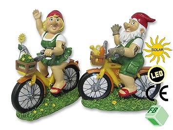 Set of 2 Garden Gnomes on Bicycle with LED Solar Light! Paul & Paula ...