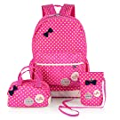 Hotrose 3x Girl School Bags Travel Canvas Rucksack Backpack School Shoulder Bag Crossbody Messenger Bag