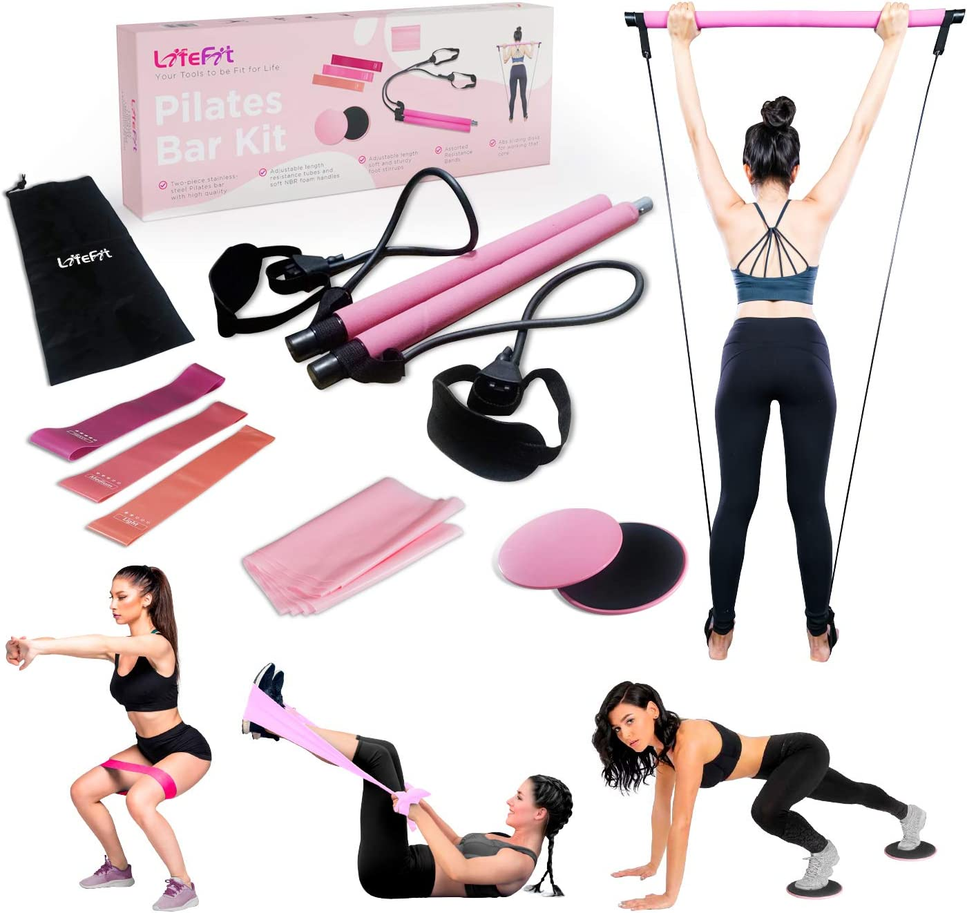 Portable Pilates Bar Kit Exercise Stick Butt Resistance Band Toning Gym Tube