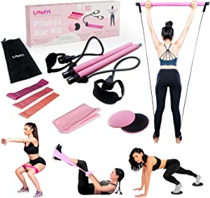 Lifefit Pilates Bar Kit with Resistance Bands Yoga Resistance Bands for Women Legs and Butt, Portable Elastic Pilates Exercise Stick for Full Body Workout