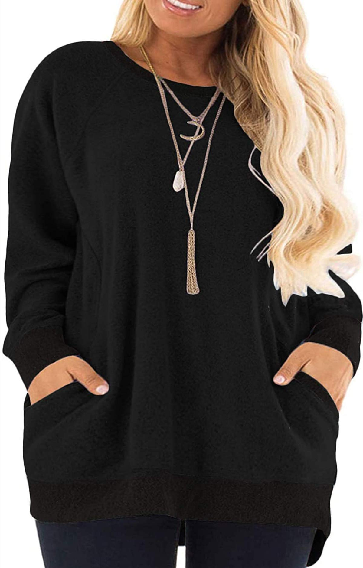 HBEYYTO Womens Casual Color Block Long Sleeve Round Neck Pocket T Shirts Blouses Sweatshirts Plus Size Tunic Tops (S-5XL)