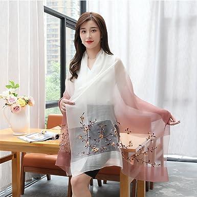 b58049ba9c045 Elegant Embroidery Silk Chiffon Scarves For Women Gradient Color Bandana  Beach Shawls Female Peach Blossom Embroider Scarf (Beige Gradient) at  Amazon ...