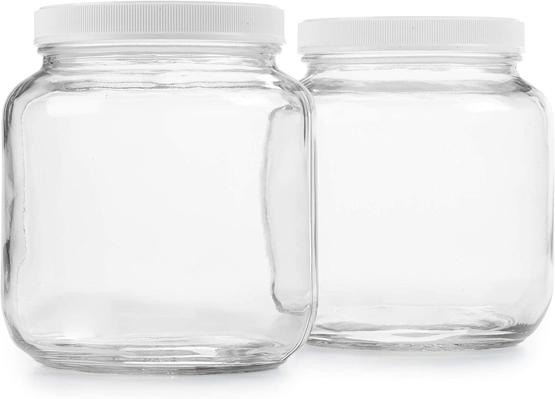 Empty Half Gallon Glass Jar w/Airtight Leakproof Plastic Lid, Wide Mouth Easy to Clean, Dishwasher Safe, USDA Certified, Kombucha Tea, Kefir, Canning, Sun Tea Fermentation Food Storage 2PK