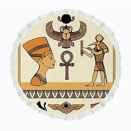 iPrint Mantel redondo de lino y poliéster de 36 pulgadas, egipcio ...