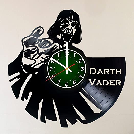 STAR WARS DARTH VADER 12 INCH 30 CM VINYL RECORD WALL CLOCK – Modern Large Darth Vader and Luke Skywalker Art – GIFT FOR BOYS – Gift idea for children, teens, adults