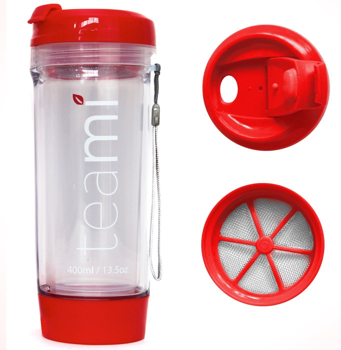 BPA Free Plastic Travel Tea Tumbler by Teami Blends - On The Go Tea Mug with Double Walled - Heat Resistant - Great Accessory for Tea Lovers - Size 13.05 Ounces 400 Milliliters (Red)