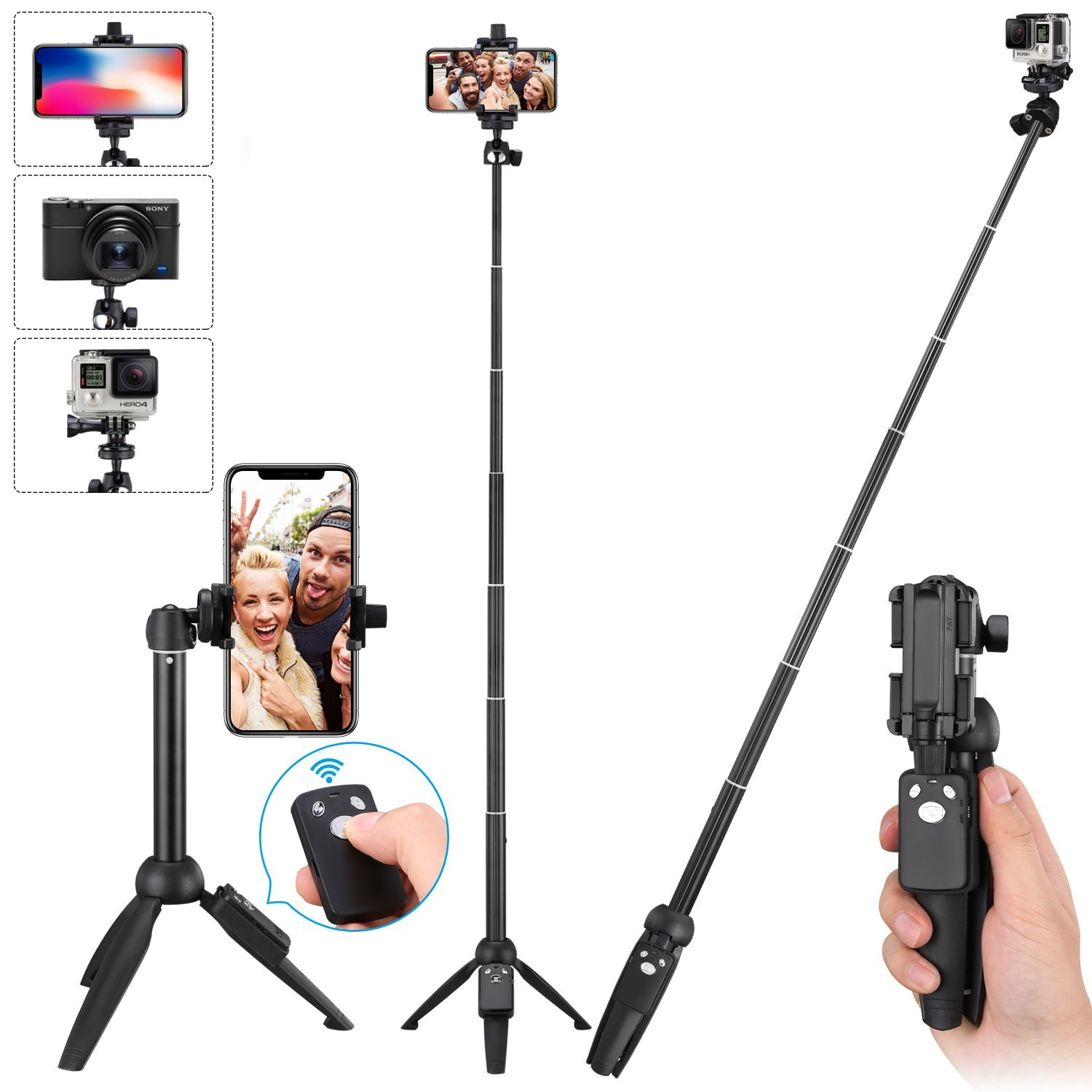 Apsung Selfie Stick Tripod, 40-Inch Extendable iPhone Tripod with Wireless Remote, Portable Selfie Stick for iPhone X/iPhone 8/8 Plus/iPhone 7/7 Plus/Android/Gopro/Digital camera,Gopro Adapter Include