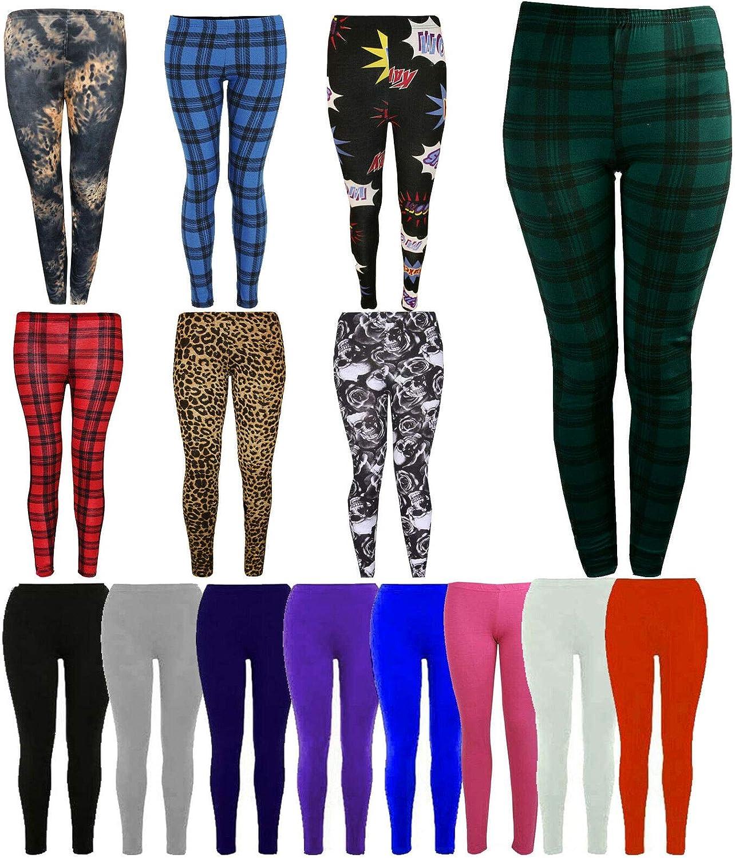 KNL Kids Girls Plain Full Length Viscose Stretchy soft Normal Leggings 4P