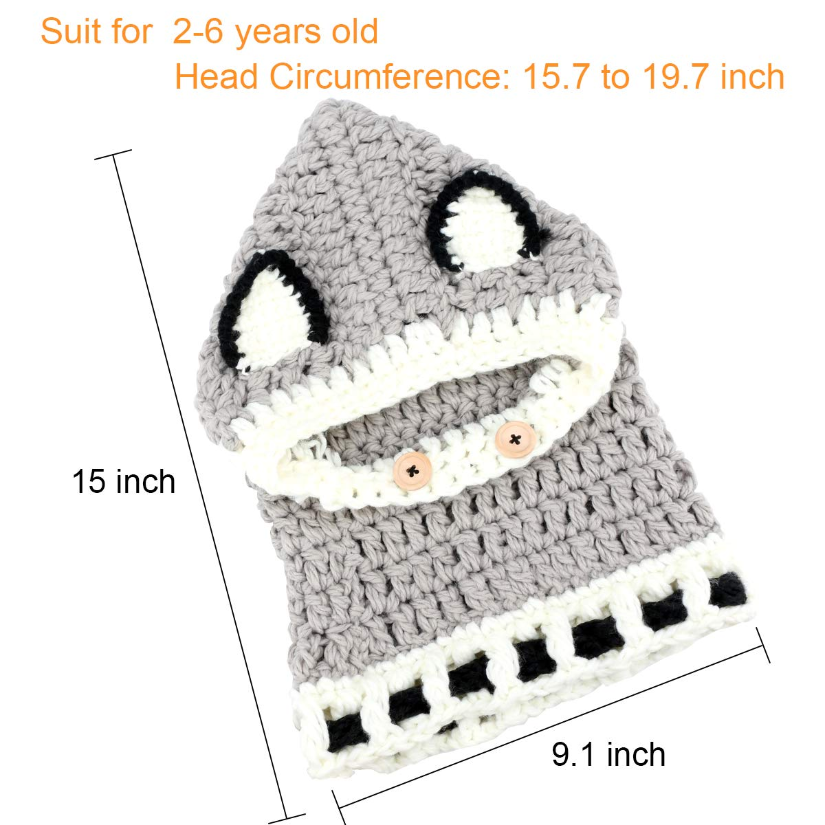 Baby Girls Boys Knit Hats Scarf Warm Fox Animal Caps Hood Scarves Earflap Snow Neck Warmer Cap with Ears for Autumn Winter 2-6 Years Old E-More Kids Winter Hat Grey