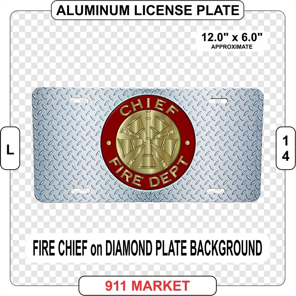 L 14 Fire Chief Aluminum License Plate Firefighter Fireman Fire Department Rescue