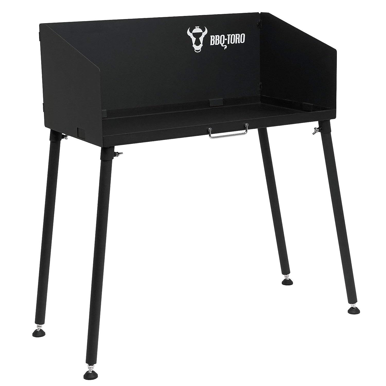 BBQ-Toro Dutch Oven Tavolo I 75 x 40 cm Nero I Tavolo in Acciaio per arrosti e Accessori Grill Tavolo Grill con Piedini Regolabili