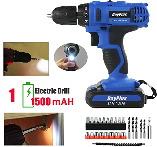 21V Electric Drill Cordless Set 18 1 Torque Impact Screwdriver with 1500mAh Rechargeable Lithium-ion Battery Adjustable Speed Easy Control LED Work Light with 29pcs Accessories – 1 Battery Kit