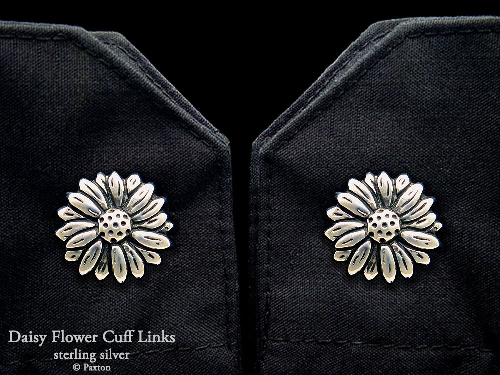 Daisy Flower Cuff Links in Solid Sterling Silver Hand Carved & Cast by Paxton