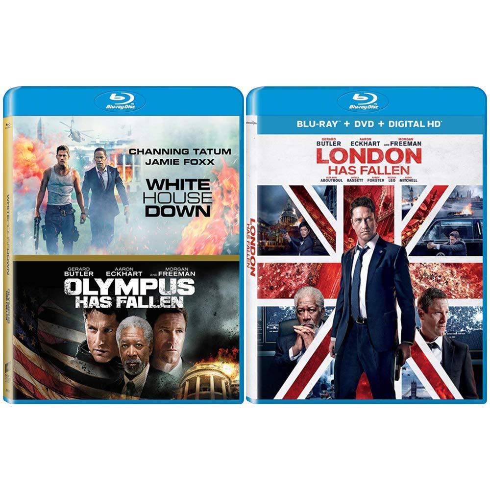 Amazon Com Action Movie Blu Ray Bundle 3 Films White House Down Olympus Has Fallen London Has Fallen Gerard Butler Morgan Freeman Aaron Eckhart Channing Tatum Jamie Foxx Movies Tv