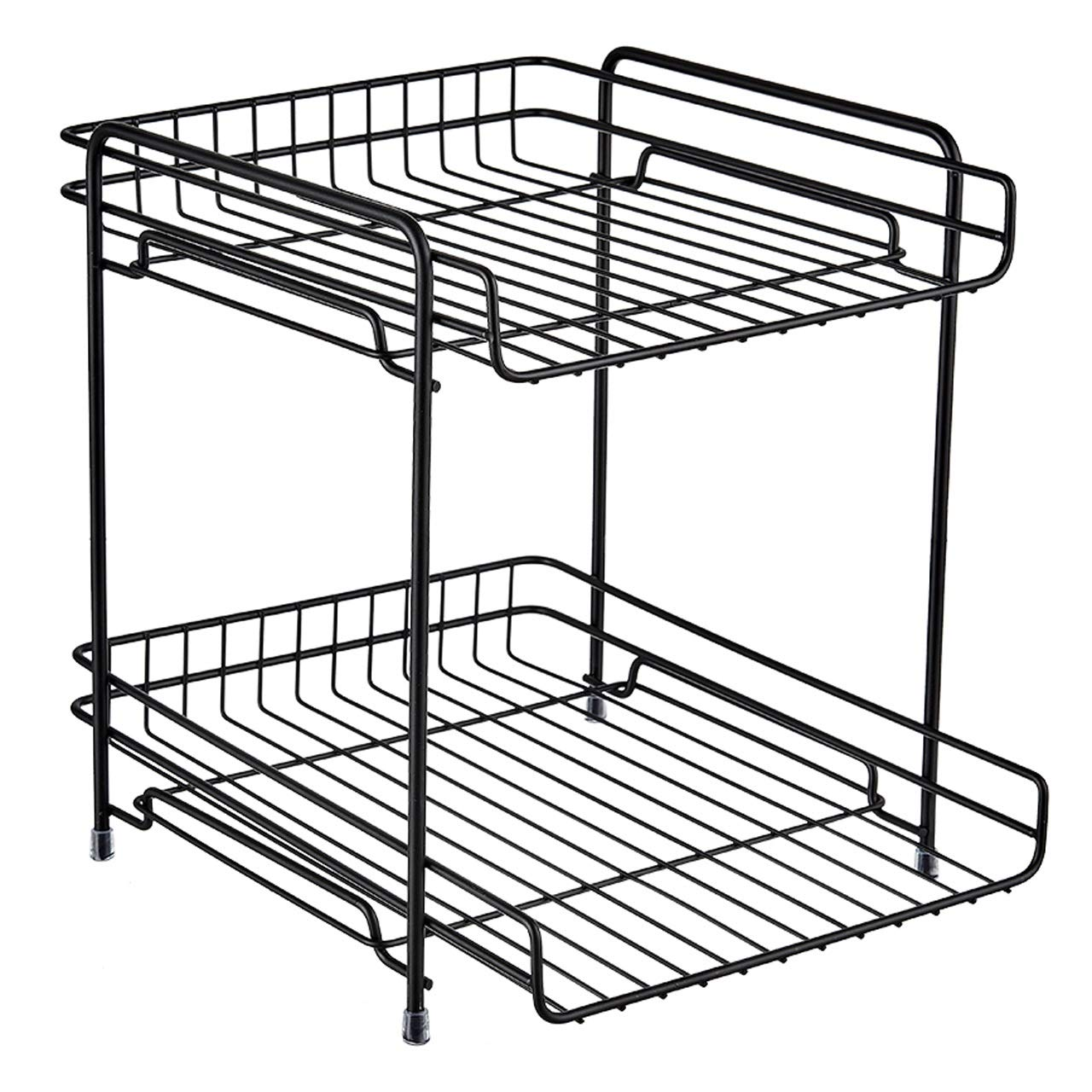 ASIERY Wrought Iron Cosmetics Storage Rack Kitchen Organizer Desk Storage Rack for Bathroom and Student Dormitory (Color : Black) by ASIERY