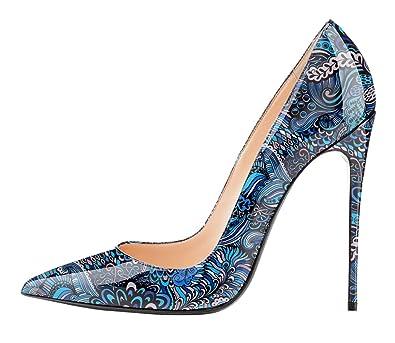 90052564d93a14 EDEFS Damen High Heel Klassische Abendschuhe Pumps Blue Schuhe Größe EU35