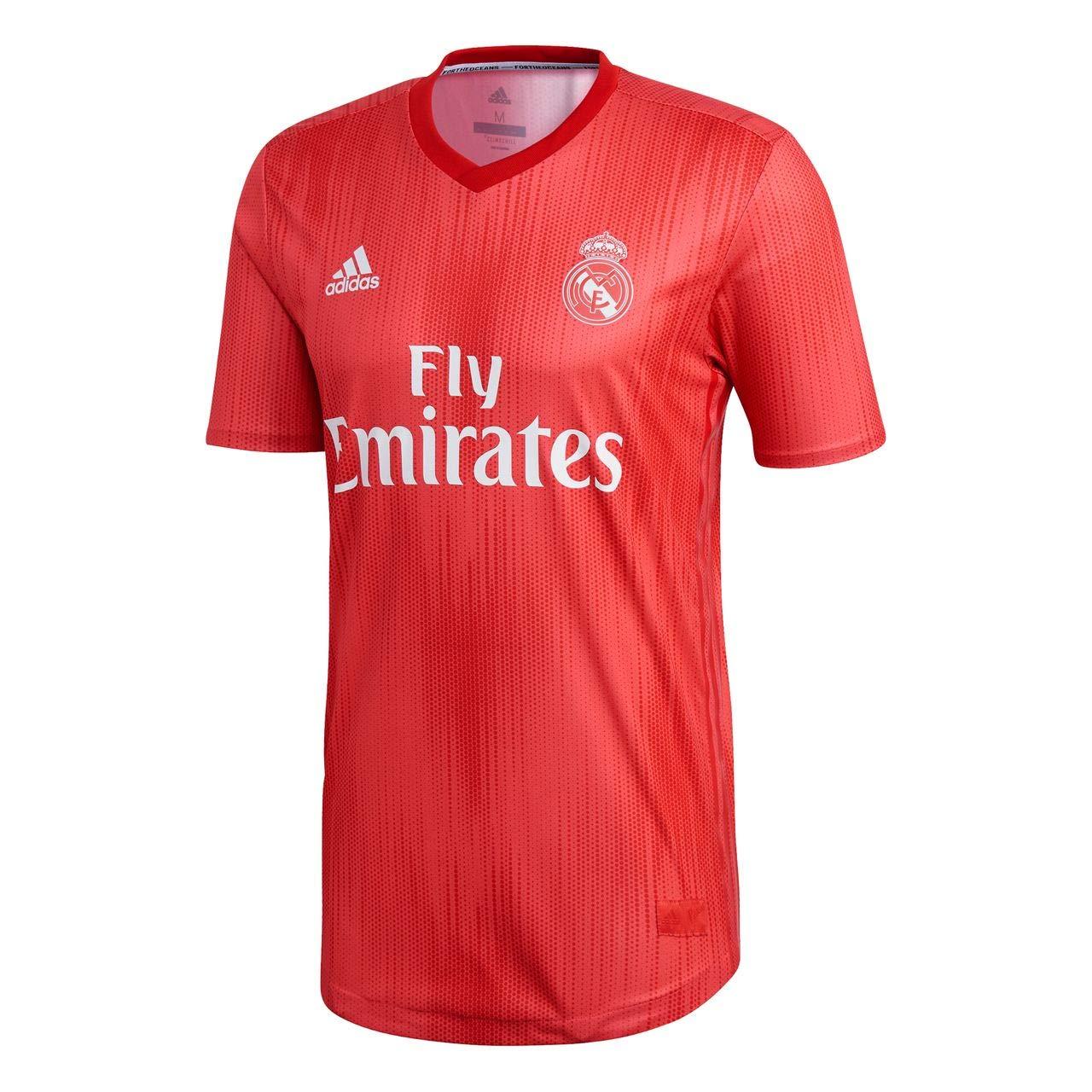 adidas Camiseta Real Madrid Tercera Equipación Authentic 2018-2019 Real Coral-Vivid Red: Amazon.es: Deportes y aire libre