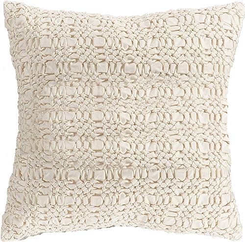 SARO LIFESTYLE Smocked Design Cotton Down Filled Throw Pillow 0002.I20S, 20 , Ivory