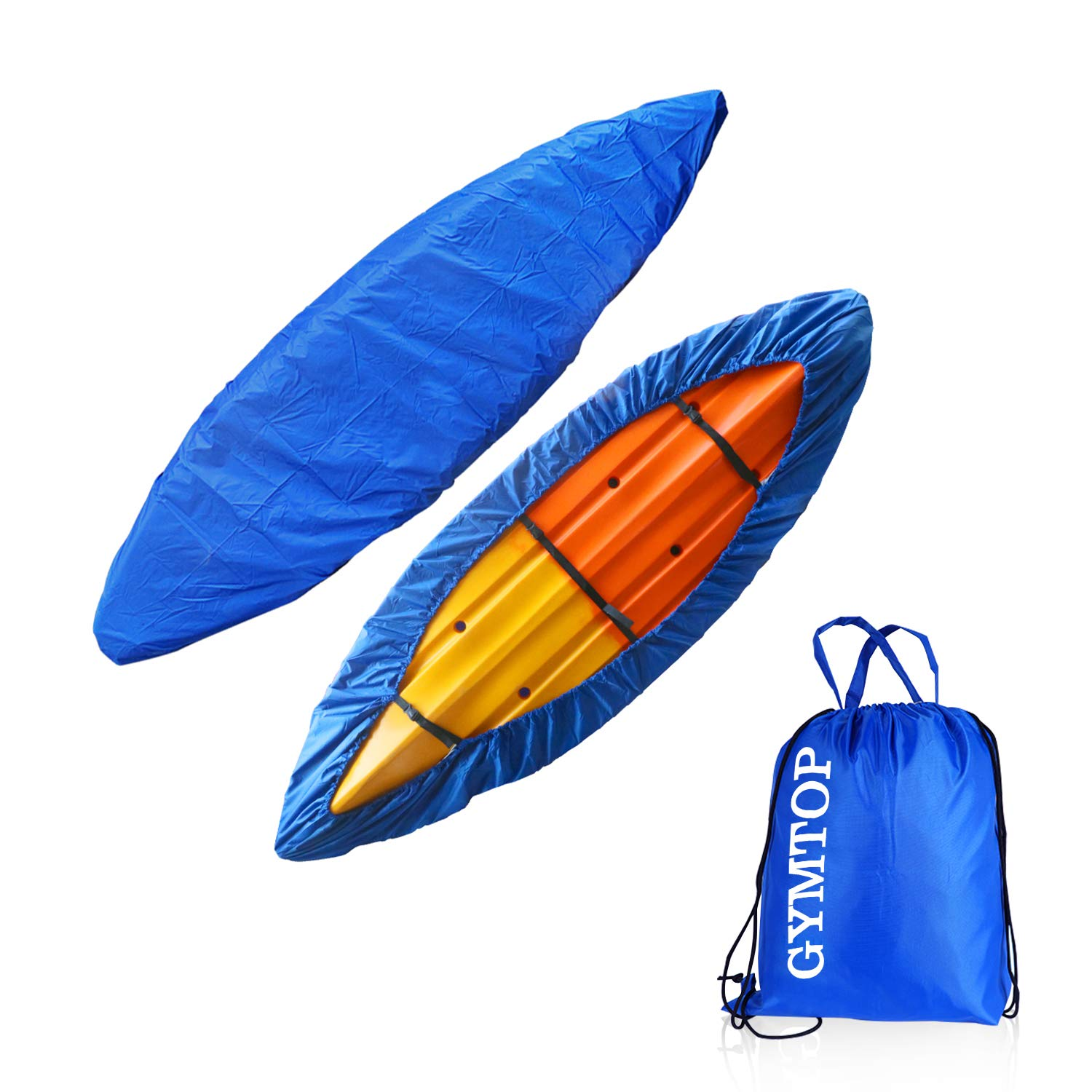 GYMTOP 7.8-18ft Waterproof Kayak Canoe Cover Storage Dust Cover UV Protection Sunblock Shield for Fishing Boat/Kayak/Canoe 7 Sizes [Choose Color] (Dark Blue(Upgraded), Suitable for 12.3-13.5ft Kayak) by GYMTOP