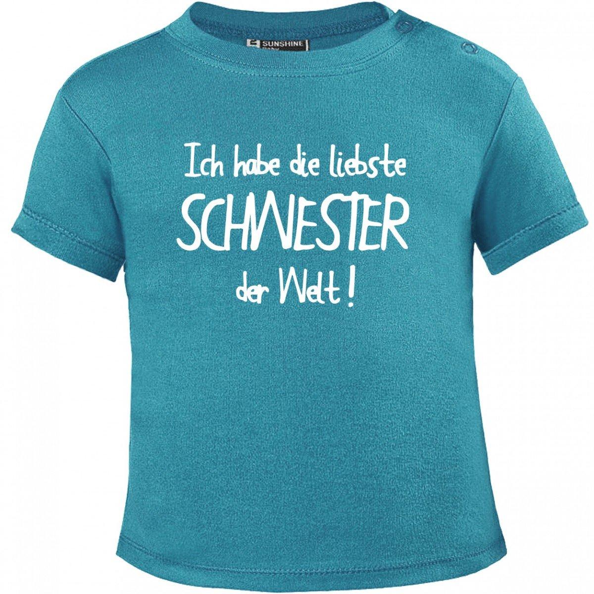 Mikalino Baby T-Shirt Ich habe die liebste Schwester der Welt! weissprint