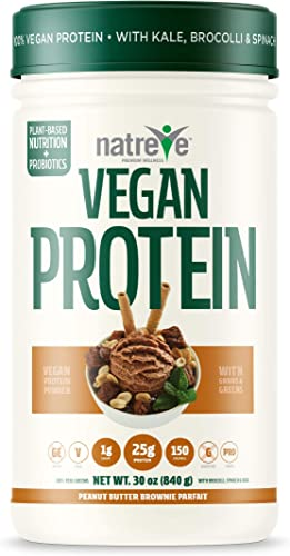 Natreve Vegan Protein Powder – Gluten Free Non-GMO Whole Food Protein with Vegetables – 30oz Peanut Butter Parfait