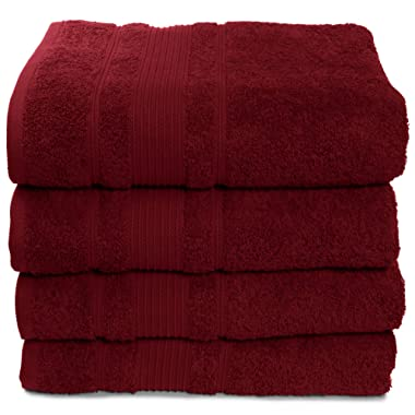 4 Pack Bath Towels Set Premium Quality | Thirsty Absorbent Soft & Plush Turkish Cotton - Burgundy