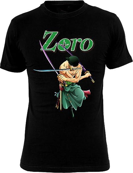 Una Pieza Negro de algodón para Hombre de la Camiseta de Roronoa Zoro Animado - XXL: Amazon.es: Ropa y accesorios