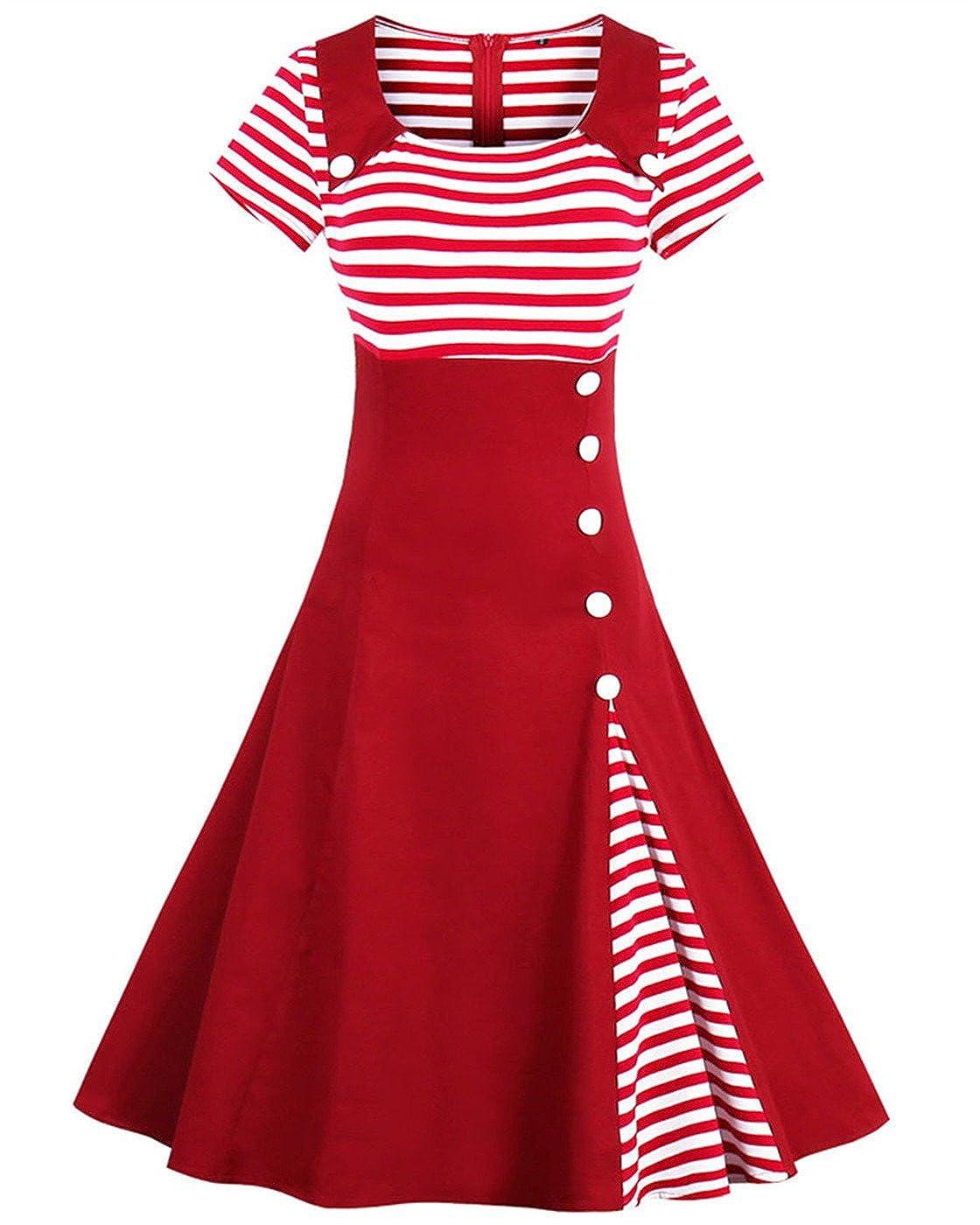 Women's Vintage Pin Up A Line Stripes Sailor Dress