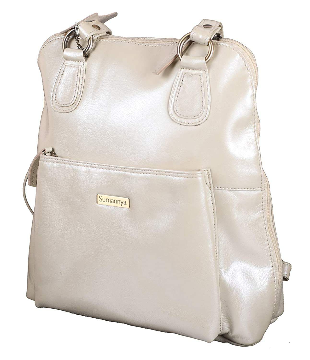 fe52a507d4b5 Buy Sumannya Genuine Leather White Ladies Handbag Backpack Online at Low  Prices in India - Amazon.in