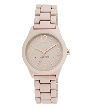 Amazon.com: Nine West Womens NW/1812PKRG Matte Blush Pink Rubberized Bracelet Watch: Watches