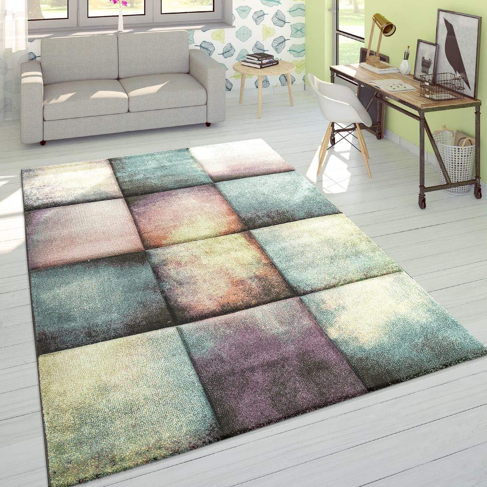 Paco Home Designer Teppich Modern Konturenschnitt Karo Farbverlauf Pastell Mehrfarbig, Grösse 160x230 cm