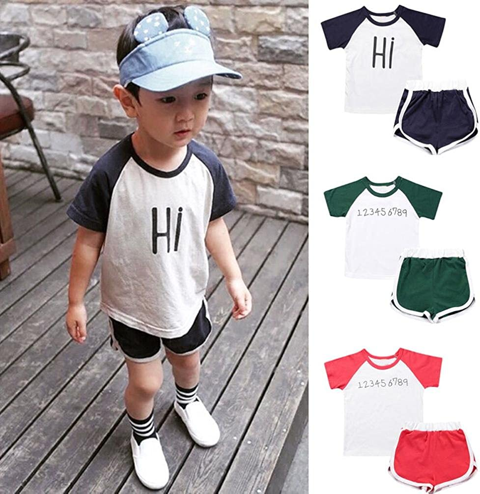 DaySeventh Outfits for Baby 2020 Summer Sport Toddler Kids Girls Boy Cute Cotton Tops+Shorts Outfit Set