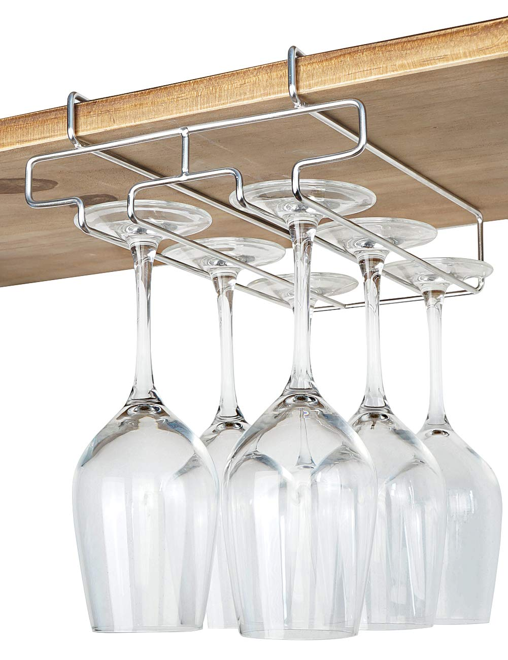 "Bafvt Wine Glass Holder - 2 Rows Wine Glass Rack Under Cabinet - 304 Stainless Steel Stemware Drying Rack, Fit for The Cabinet 0.8"" or Less"
