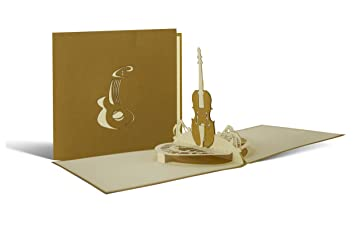 Musicians Card Greetings Birthday Instrument Guitar Violin