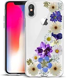 Unov Case Compatible with iPhone Xs iPhone X Case Clear with Design Slim Protective Soft TPU Bumper Embossed Pattern Protective 5.8 Inch (Flower Blossom)