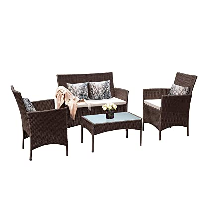 b43d89b9208e Tangkula Patio Furniture Set 4 Piece Outdoor Pool Lawn Backyard Rattan  Wicker Cushioned Sofas Loveseat and. Roll over image to zoom in