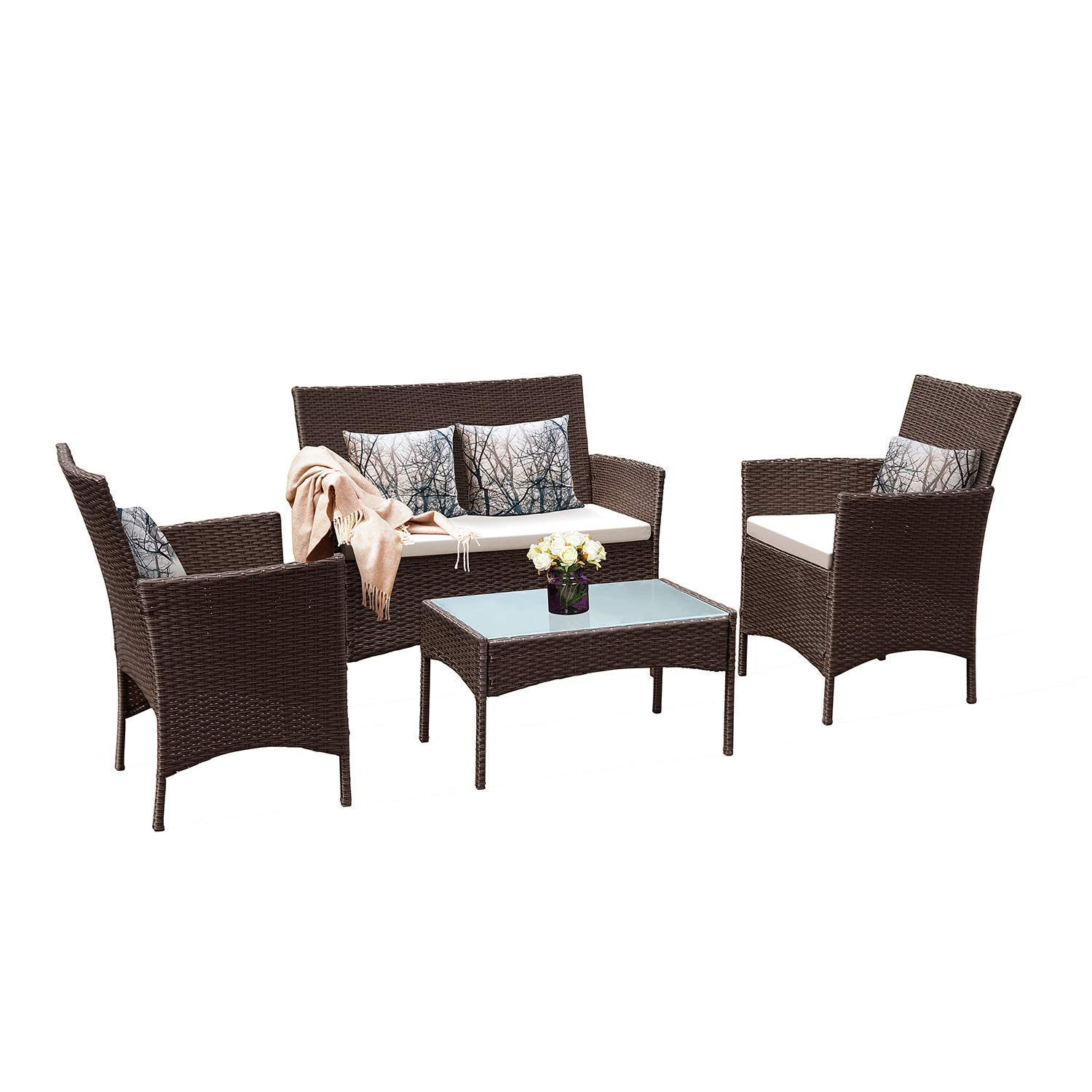 Tangkula Patio Furniture Set 4 Piece Outdoor Pool Lawn Backyard Rattan Wicker Cushioned Sofas Loveseat and Glass Top Coffee Table Conversation Set Cushions Removable Modern Patio Furniture Set