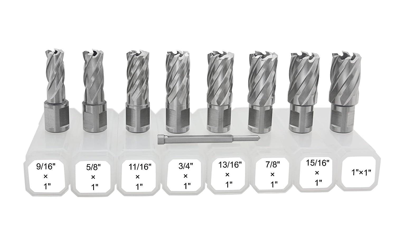 Accusize - 8 Pcs/Set 9/16'' to 1'' HSS Annular Cutters, Cutting Depth 1'', with 8 Pcs of Pilot Pin, A05 Cutting Depth 1'' Accusize Co. Ltd.