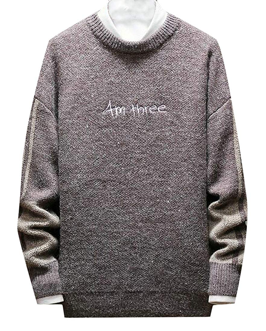 OTW Mens Long Sleeve Knitting Casual Crew Neck Embroidery Pullover Sweater
