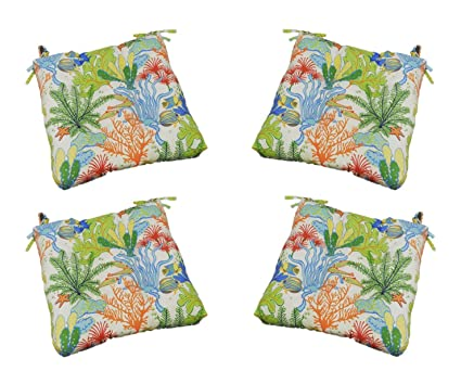 Set Of 4 Indoor Outdoor Orange Green Blue Topical Fish Universal Tufted Seat Cushions W Ties For Dining Patio Chairs Choose Size 20 X 19