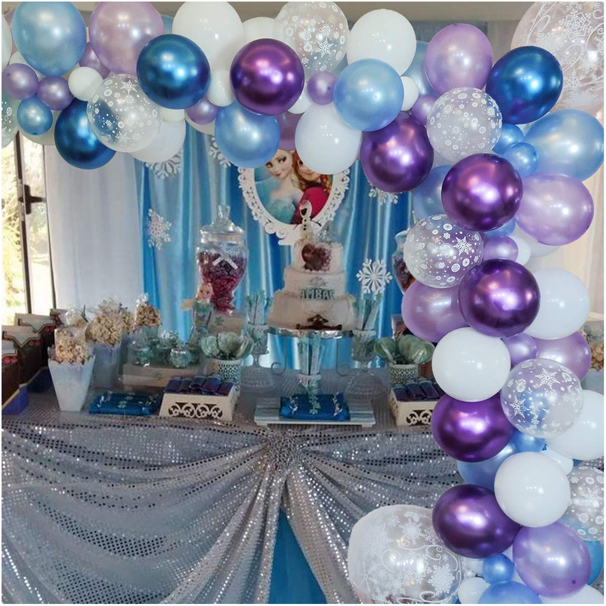 Luvier Snowflake Purple And Blue Latex Balloon Garland Arch Kit With Strip/102pcs Large to Small Party Balloons For Frozen/Ice Princess Party Decoration (Snow-Blue 1)