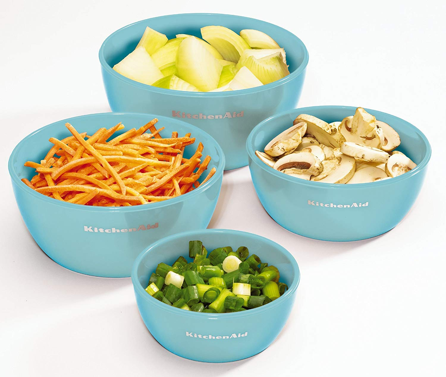Amazon.com | KitchenAid Prep Bowls with Lids, Set of 4, Aqua Sky: Bowls