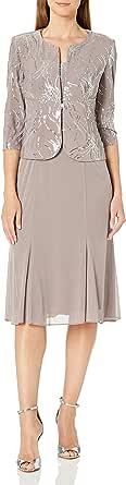 Alex Evenings Women's Tea-Length Dress with Jacket