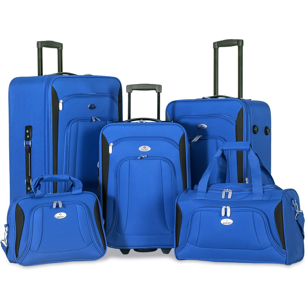 Merax Newest 5 Piece Set Expandable Rolling Suitcase Softshell Deluxe Luggage Set (Blue)