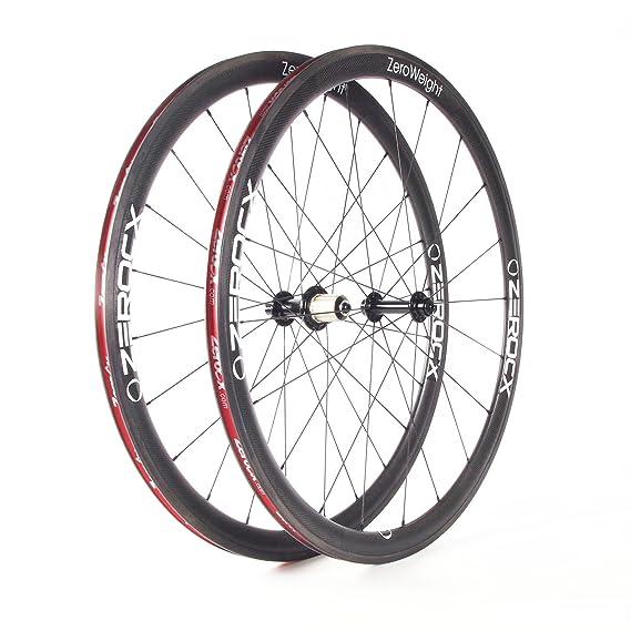 ZeroCx - Par de Ruedas de Carbono para carretera - Perfil 38mm Cubierta - Modelo Zero Weight - Sram/Shimano 10/11v: Amazon.es: Deportes y aire libre