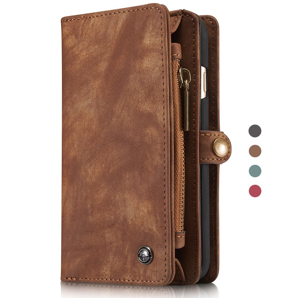 Leather iPhone 8 Plus Wallet Case Mens Flip Brown Card Slots Magnetic Back Cover FLY HAWK KDS02272-ZongSe-iPhone8P@#MLD-CA
