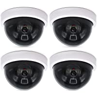 WALI Dummy Fake Security CCTV Dome Camera with Flashing Red LED Light (SDW-4), 4 Packs, White