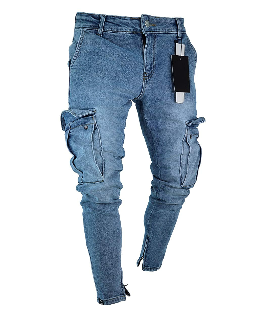 Nansiche Mens Stretchy Ripped Jeans Trousers Skinny Biker Jeans Destroyed Taped Slim Denim Pant
