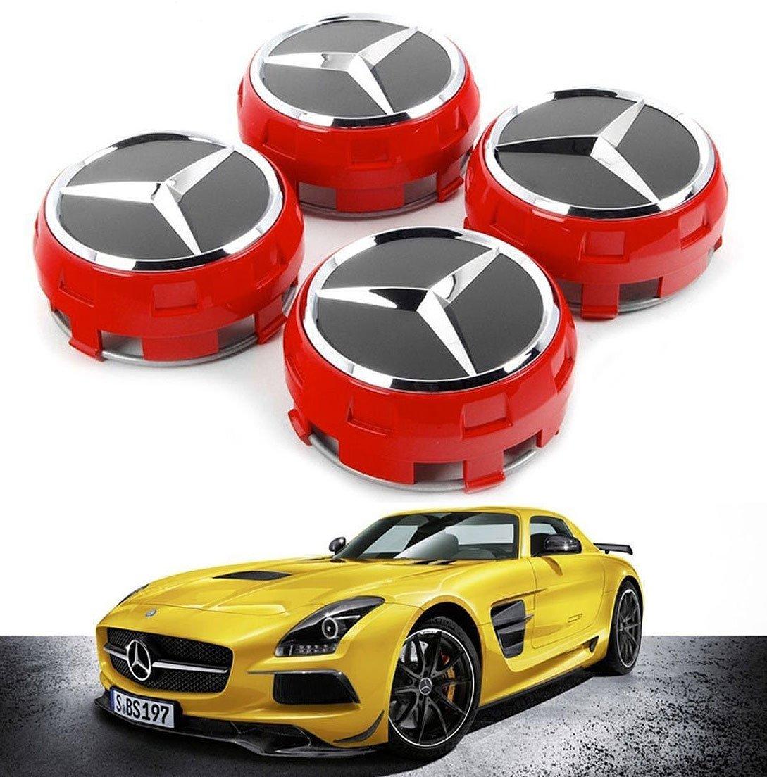UG 4X Tappi Coprimozzo Rialzati per Mercedes 75mm, Colore Rosso, Ricambio per Borchie Cerchi Lega